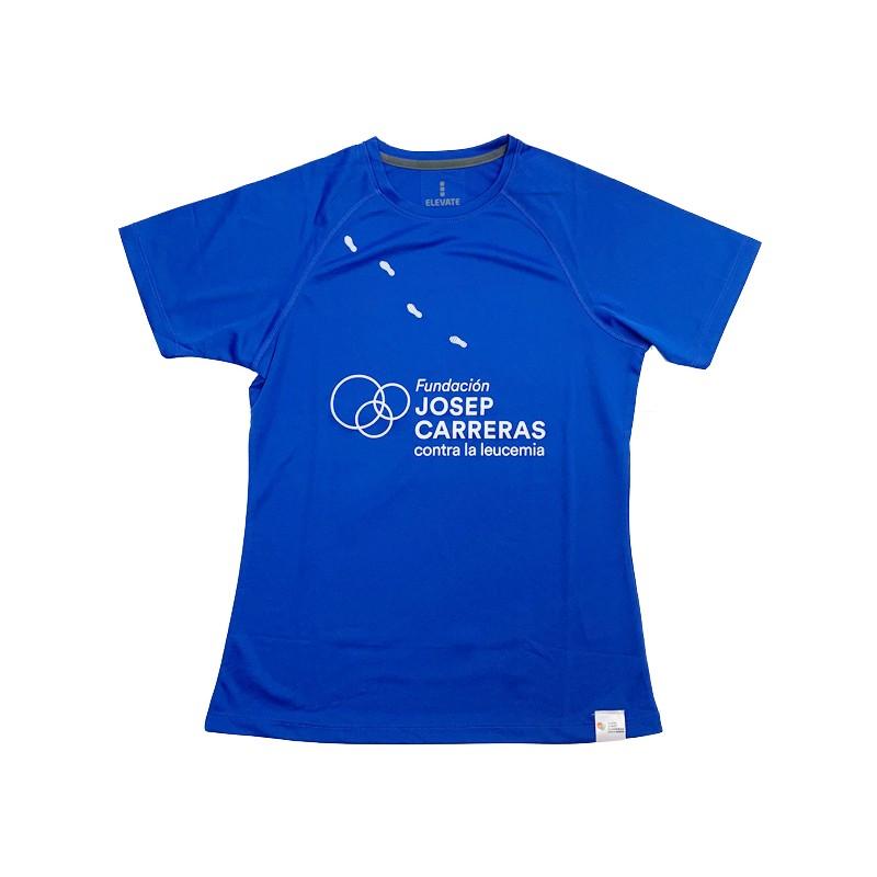 Camiseta running solidaria Fundación Josep Carreras mujer color azul
