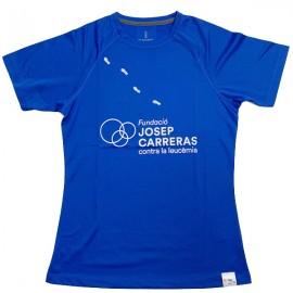 Camiseta running solidaria Fundación Josep Carreras mujer color azul catalán