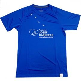 Camiseta running solidaria Fundación Josep Carreras hombre color azul catalán