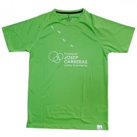 Camiseta running solidaria Fundación Josep Carreras hombre color verde