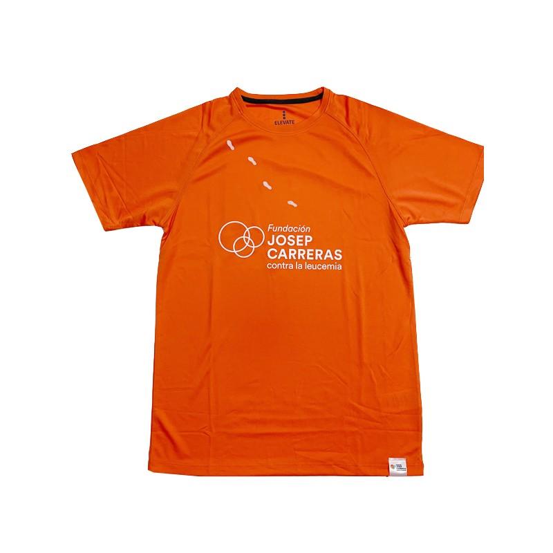 Camiseta running solidaria Fundación Josep Carreras hombre color naranja
