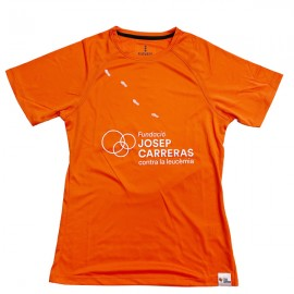 Camiseta running solidaria Fundación Josep Carreras mujer color naranja