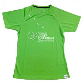 Camiseta running solidaria Fundación Josep Carreras mujer color verde