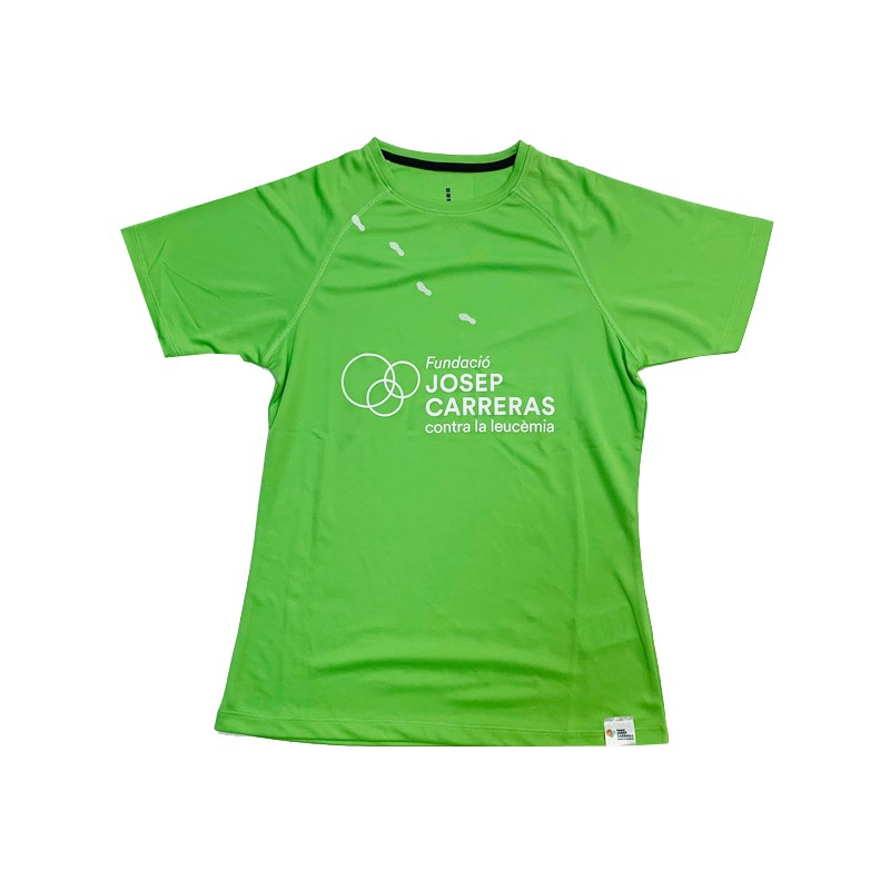 Camiseta running solidaria Fundación Josep Carreras mujer color verde catalán