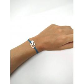 Polsera de plata solidària contra el càncer per a regalar Fundació Josep Carreras color blava