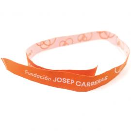 Pulseras de tela naranja solidaria Fundación Josep Carreras