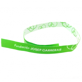 Pulseras de tela verde solidaria Fundación Josep Carreras