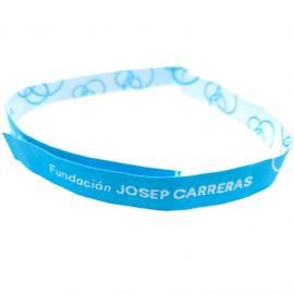 Pulseras de tela azul solidaria Fundación Josep Carreras