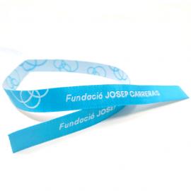 Pulseras de tela azul solidaria Fundación Josep Carreras catalán