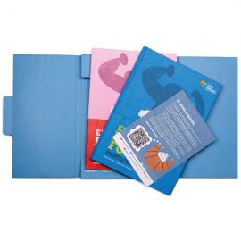 Cuento El bebé forzudo y libro de actividades con packaging Fundación Josep Carreras