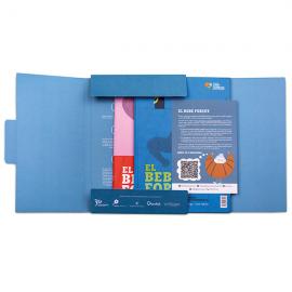 Cuento El bebé forzudo y libro de actividades catalán con packaging Fundación Josep Carreras