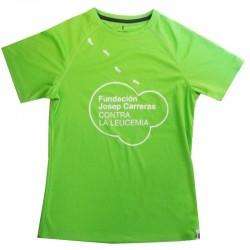 Camiseta térmica runner mujer solidaria Fundación Josep Carreras verde