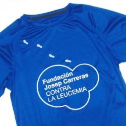 Samarreta tècnica blava dona solidària Fundació Josep Carreras